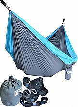 Nylon Fabric Hammock with 2 Webbing Straps 17 Loops