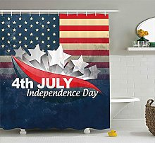 Nyngei 4th of July Shower Curtain American Flag