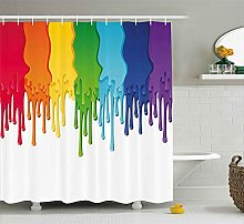 Nyngei Abstract Shower Curtain Rainbow Colored