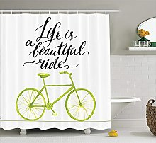 Nyngei Bicycle Decor Shower Curtain Set Life is A