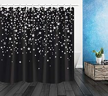 Nyngei Black Extra Long Shower Curtain Fabric Set