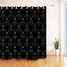Nyngei Black Leather Gold Pattern Shower Curtain