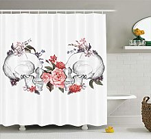 Nyngei Gothic Shower Curtain by Roses and Skull