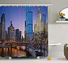 Nyngei Landscape Shower Curtain USA Chicago