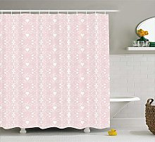 Nyngei Pink and White Shower Curtain Victorian