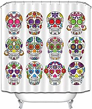 Nyngei Shower Curtain Liner Candy Rose Skull