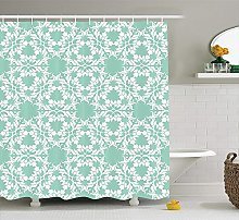 Nyngei Turquoise Decor Shower Curtain by Floral