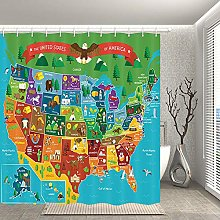 Nyngei US State Map Shower Curtain Bathroom Decor