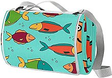 NYZXH Fish Blue Waterproof Outdoor Picnic Blanket