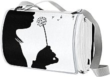NYZXH Girl With Dandelion Silhouette Black White