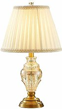 NZDY Crystal Bedside Table Lamp, Retro Natural