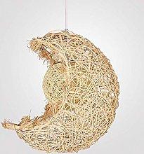 NZDY Moon Rattan Bamboo Pendant Lights E27 Base