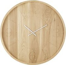 Oak Clock with Engraved Numerals and White Hands