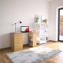 Oak Desk with Drawers & Storage for Home Office -