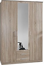 Oak Effect 3 Door 2 Drawer Wardrobe - Large
