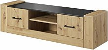 Oak LUGO TV Cabinet Small Media Stand with 2