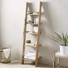 Oak Narrow Ladder Shelf, Natural, One Size