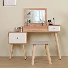 Oak Scandi Dressing Table with Mirror and Stool