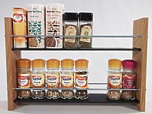 Oak Slate Design Spice/Herb Rack 2 Tier, 16 Jar -