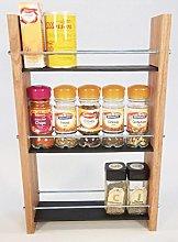 Oak Slate Design Spice/Herb Rack 3 Tier, 15 Jar -