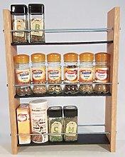 Oak Slate Design Spice/Herb Rack 3 Tier, 18 Jar -