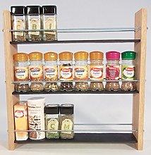 Oak Slate Design. Spice/Herb Rack .3 Tier, 24 Jar