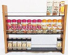 Oak Slate Design. Spice/Herb Rack .3 Tier, 33 Jar