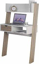 Oak & White Ladder Desk 1 Drawer Shelf Wooden