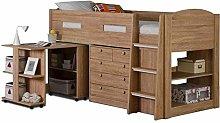 Oak wood finish Captains mid sleeper kids bed