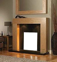 Oak Wood Fireplace Surround Black Granite Marble