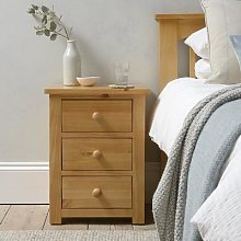 Oakley Pine 3 Drawer Bedside Cabinet