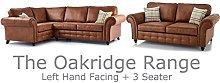 Oakridge 4 Seater Large Leather Corner Sofa - Tan