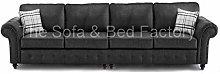 Oakridge Large Black Leather 4 Seater Sofa |