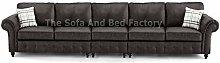 Oakridge Large Grey Long Leather 5 Seater Sofa |