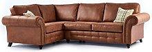 Oakridge Large Leather Corner Sofa - Tan (Left
