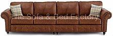 Oakridge Large Tan Leather 4 Seater Sofa | Bespoke