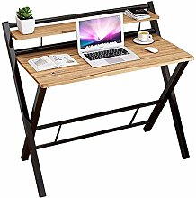 Oanzryybz Folding Computer Desk with Metal Frame