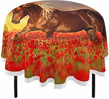 Oarencol 3D Animal Horse Red Poppy Flowers Round