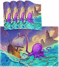 Oarencol Anime Octopus Boat Ocean Placemat Table