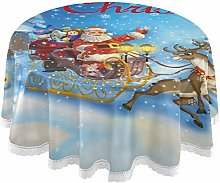 Oarencol Christmas Round Tablecloth 60 Inch Santa
