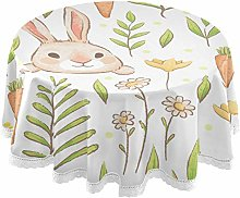 Oarencol Easter Rabbits Carrots Flowers Round