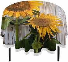 Oarencol Fresh Sunflowers Wooden Round Tablecloth