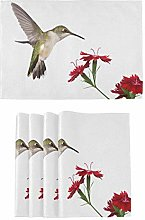 Oarencol Hummingbird Red Dianthus Flower Placemats