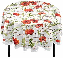 Oarencol Poppy Flowers Vintage Round Tablecloth 60