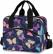 Oarencol Rainbow Butterfly Flower Insulated Lunch