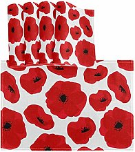 Oarencol Red Poppy Flower Placemat Set of 4, Table