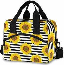 Oarencol Sunflower Black White Stripe Insulated
