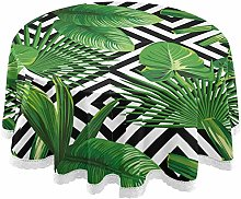 Oarencol Tropical Palm Round Tablecloth Geometry