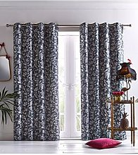 Oasis Home Amelia Eyelet Curtains In Grey