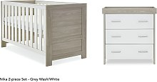 Obaby Nika 2 Piece Room Set - Grey Wash and White